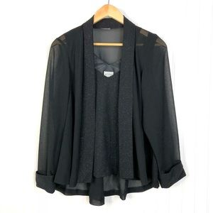 Metaphor Evening Blouse & Open Front Cardigan Set